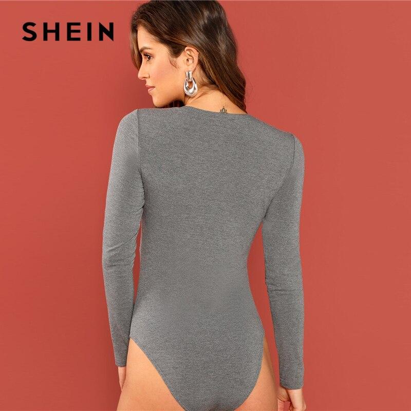 ac7962b026 SHEIN Grey Twist Front Skinny Bodysuit Casual Deep V Neck Long Sleeve  Tshirt and Bodysuit Women Autumn Plain Elegant Bodysuits-in Bodysuits from  Women s ...