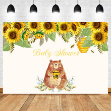 Cute Brown Bear Backdrop Animal Honey Sunflower Baby Shower Photography Background Child Birthday Party Decoratie Supplies