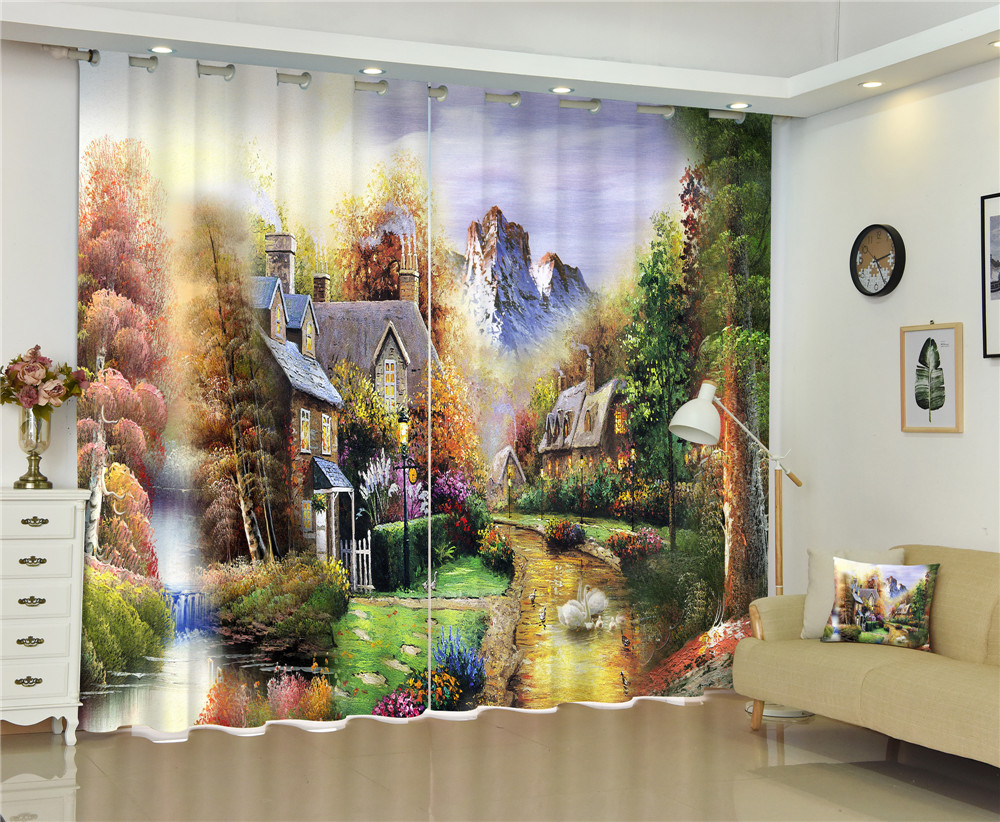 Tree Landscape Luxury Window 3D Curtains Drapes For Bedroom Living room Office Hotel Home Decorative Wall Tapestry Custom SizeTree Landscape Luxury Window 3D Curtains Drapes For Bedroom Living room Office Hotel Home Decorative Wall Tapestry Custom Size