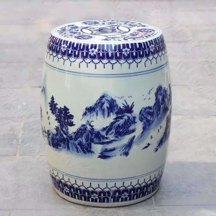 Blue And White Indoor Ceramic Antique Drum Porcelain Garden Stool Glazed Ceramic Ceramic Drum