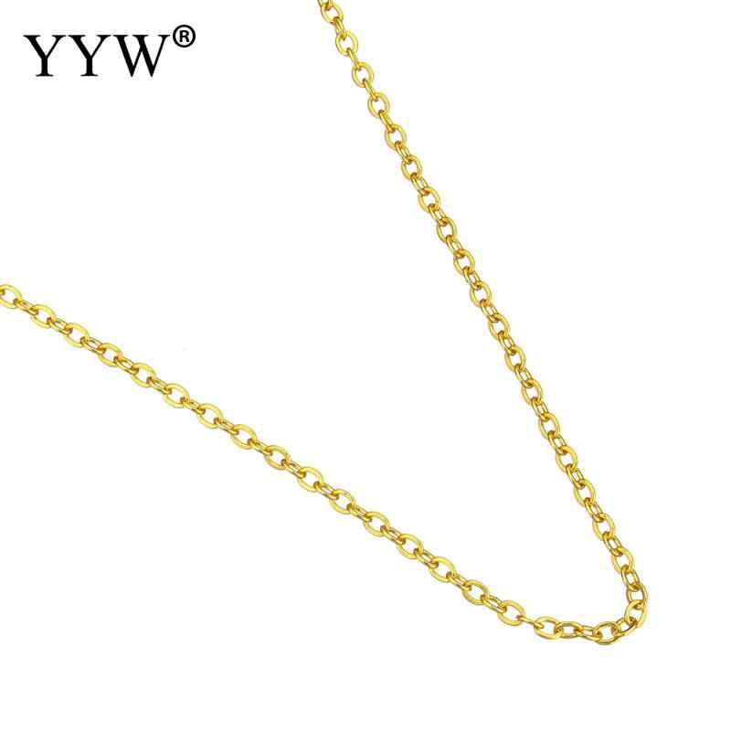 Wholesale Price 24k Gold-Color Plated Brass Chain Necklace For Men Women Oval Chains Brass Bulk for Jewelry Making DIY