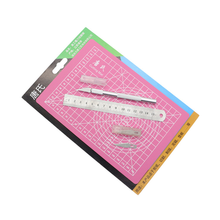 3pcs pen knife cutting paper set board pad small ruler engraving Writing drawing doing manual plate tracing craft(China)