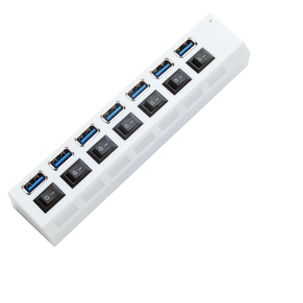 7-Port USB 3.0 Multi Charger Hub High Speed Adapter ON//OFF Switch Laptop//PC