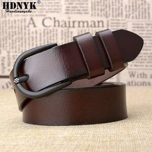 Image 2 - Cinturón de cuero de vaca de alta calidad para mujer, cinturón Retro, informal, a la moda, salvaje