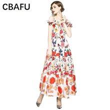 CBAFU runway designer dress 2018 sexy off the shoulder slash neck strap long  maxi dress women floral printing sundress N396 295cb3c7f3b9