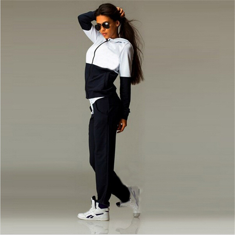 2 piece set spring fashion tracksuit Women Femme Hooded Patchwork cotton Casual sportwear sporting track suit pant twinset