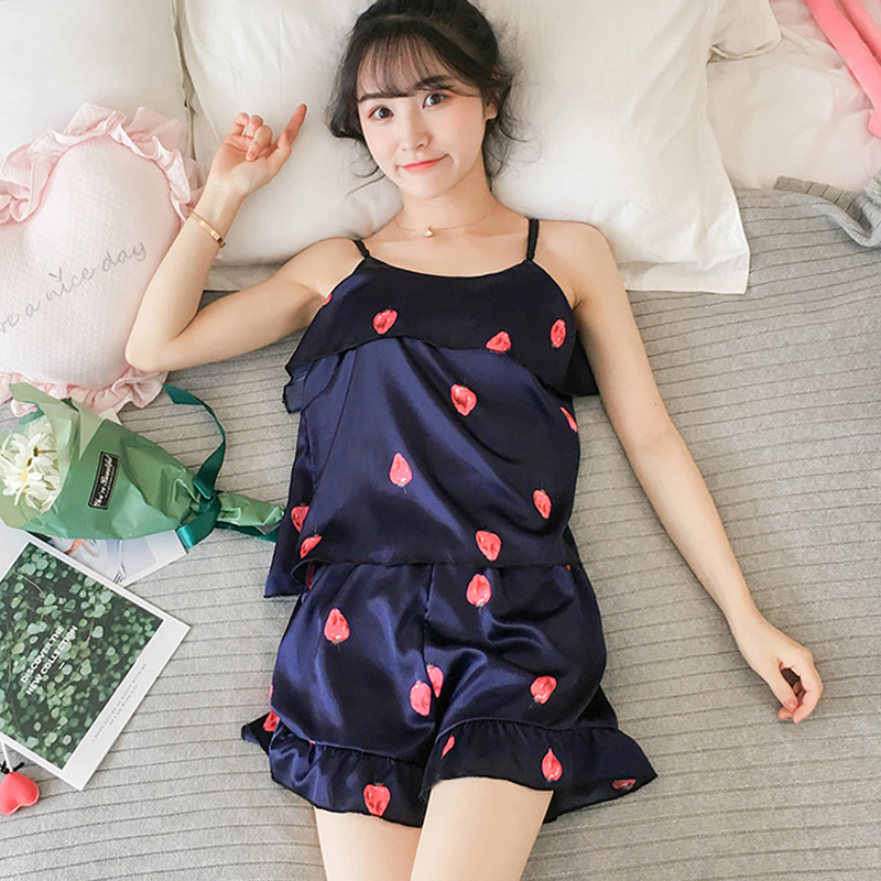 2019 Women   Pajama     Set   Sexy printing Sleepwear Shortless Sleeve Sling Pyjamas young Girl Short Pant Summer Ice Silk Women   Pajamas