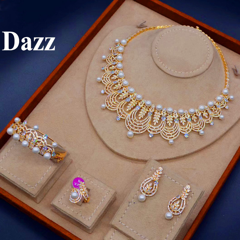 Dazz Luxury Nigeria Women Necklace Jewelry Sets Big Flower Full Zircon Tassel Collar Necklaces Earring Bangle Ring Set Gift 2019Dazz Luxury Nigeria Women Necklace Jewelry Sets Big Flower Full Zircon Tassel Collar Necklaces Earring Bangle Ring Set Gift 2019