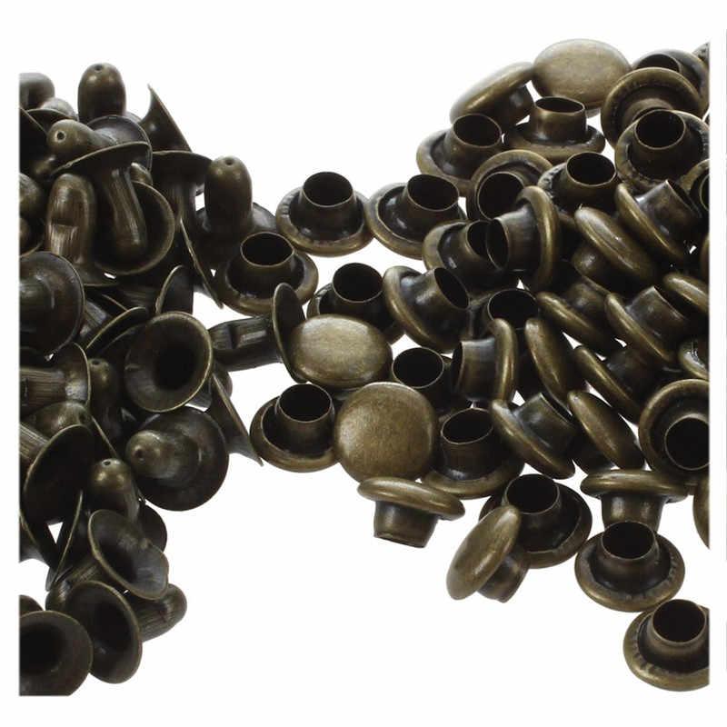 100pcs עתיק פליז מסמרות ראפיד הרבעה עגול פטריות דקורטיבי מסמרות DIY סט 6mm עבור בגדי בגדי תיק נעליים עור