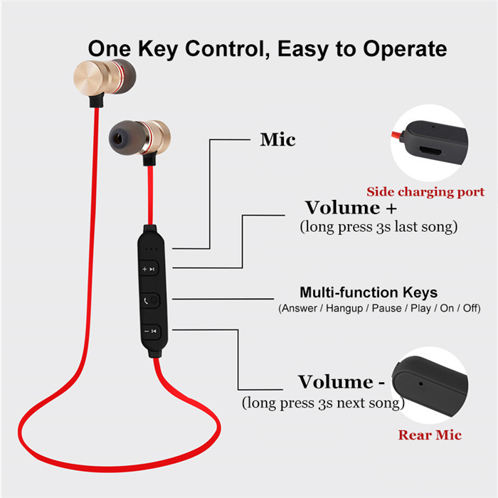 Bluetooth Magnet Earphones Running Sport with Mic for iPhone 4 4S 5 5S 5C 6 7 Plus fone de ouvido