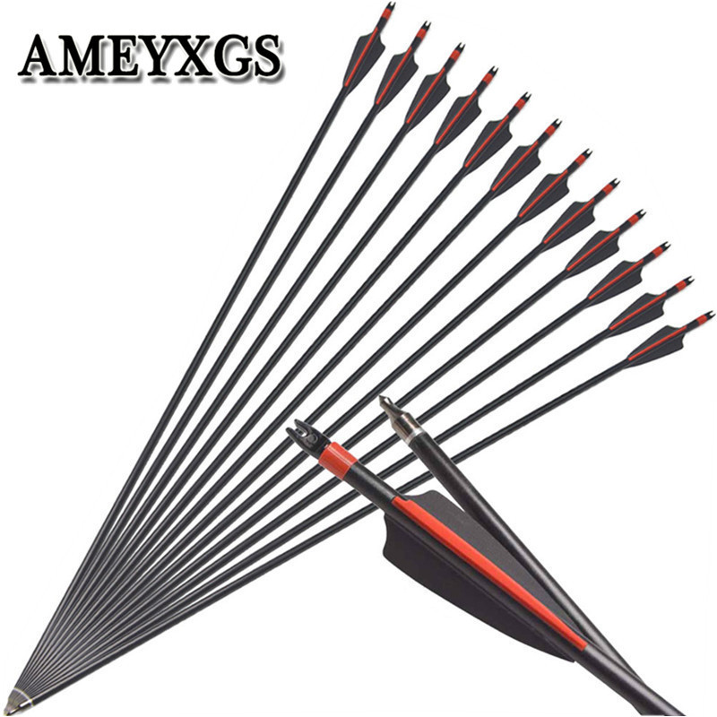 "12/24Pcs 30"" Spine 500 Archery Fiberglass Arrows Plastic Feather Glass Fiber Arrow For Bow Outdoor Hunting Shooting Accessories-in Bow & Arrow from Sports & Entertainment"