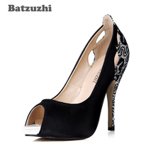 Batzuzhi 2018 New Open Toe Women Pump Shoes Black Suede Leather Back and Heels with Lace Sexy Women Party Shoes, Big Size 43 keerygo women s shoes inside and outside the full leather lace leather shoes comfortable feet big shoes