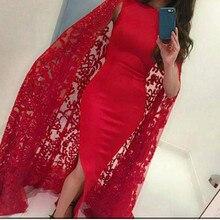 Langen Roten Arabische Abendkleider 2016 mit Cape Robe De Soiree Longue mit Schlitz