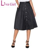 Liva Girl 2018 Summer Elegant Retro Buttons Front Flared Midi Skirt A Line Formal Skirts Womens