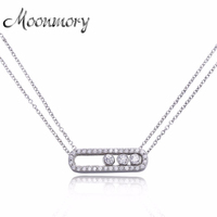 Famous Brand Jewelry 100 Real Pure 925 Sterling Silver Move Zircon Necklace For Women Wedding Engagement