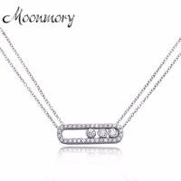 Moonmory Trang Sức Nổi Tiếng Thực 100% Nguyên Chất 925 Sterling Silver Di Chuyển Zircon Vòng Cổ Cho Phụ Nữ Cưới Engagement Vòng Cổ Trang Sức