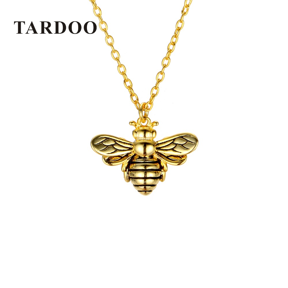 Tardoo Gold Bee Pendant Necklace 925 Silver Cute Honeybee Necklace Fashion Jewelry For Women Black Strips Honey Bee Necklace cute women s beads flower bee pendant necklace