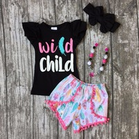 summer WILD CHILD clothing summer baby girls boutique cotton black top with feather shorts seersucker shorts match accessories