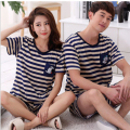 CR 2017 Women Knitted Cotton Sleepwear Men Comfortable Summer Pajama 6 Style Striped Underwear Nightwear AP361