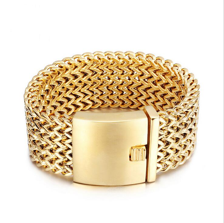 30mm Wide 21cm Length Heavy Mens Curb Bracelet Gold Silver Color Mesh Stainless Steel Bracelets Bangles Biker Jewelry Wristband In Chain Link