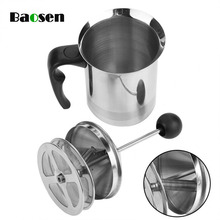 Baosen 400ml Stainless Steel Milk Frother for Cappuccino Jugs Double Mesh With Spring Creamer Kitchen Gadgets