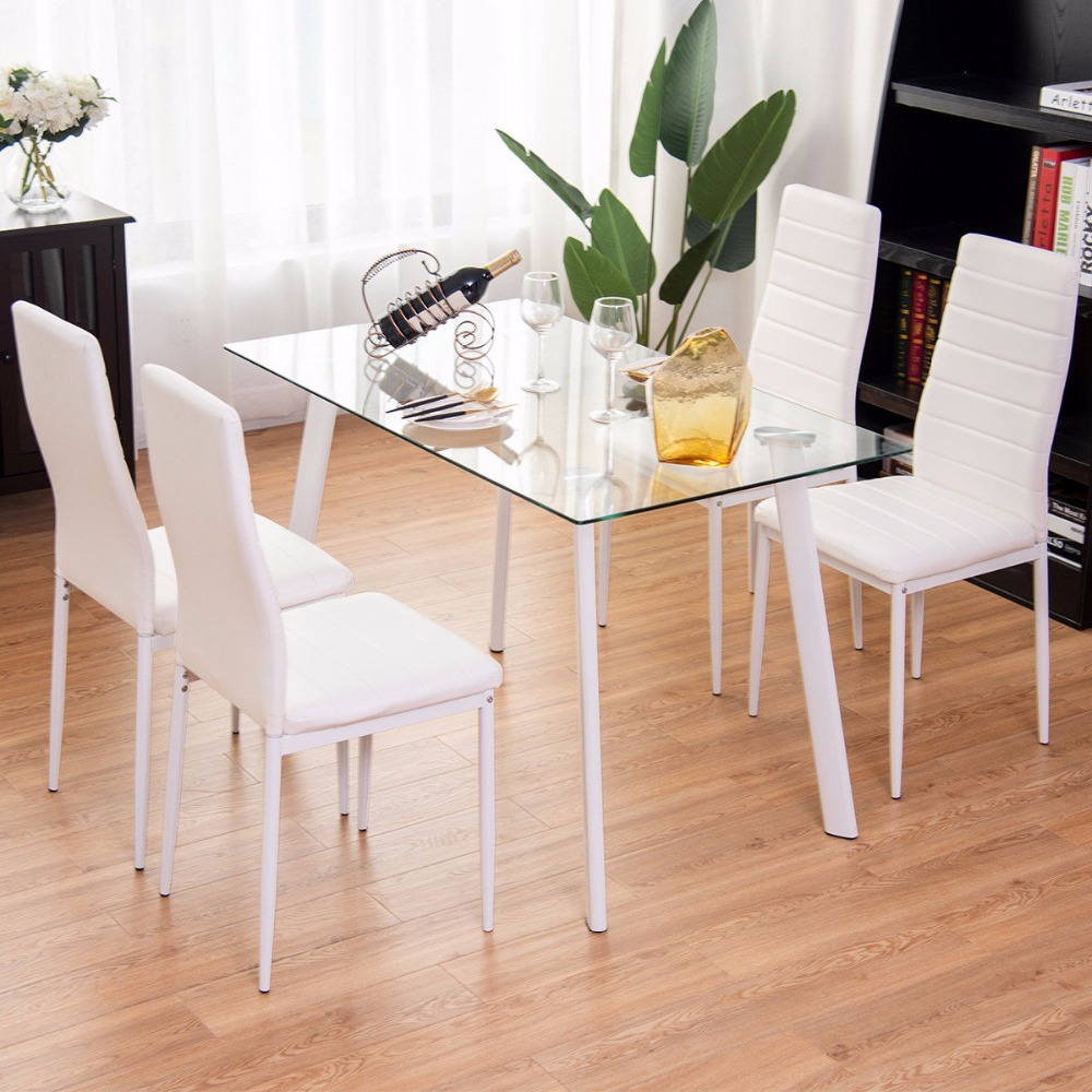 Giantex 5Pcs Dining Set Tempered Glass Top Table & 4