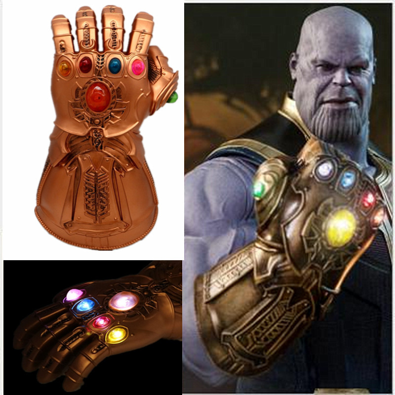 Thanos Infinite War Glowing Gloves Role Playing PVC Material LED Gemstone Men's Gloves Halloween Props Supplies Avengers