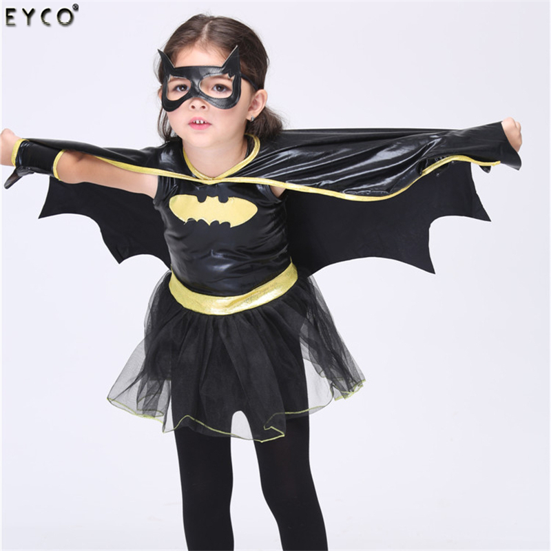2017 High Quality Hot Party Halloween Children Clothes Set Kids Sports Suit Girls Batman Bat Man Role Halloween Cospaly Costume