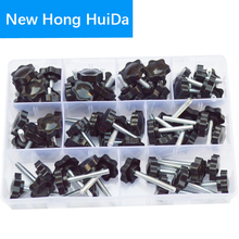 цена на Thread Star Shaped Head Clamping Screw Bolt Knob For Industry Equipment Plastic Carbon Steel Galvanization Assortment Kit Set M5