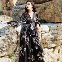 YOSIMI 2018 Maxi Long Women Jumpsuits Loose for Travel V neck Evening Party Ankle Length Bohemian Full Sleeve Pants Black Print
