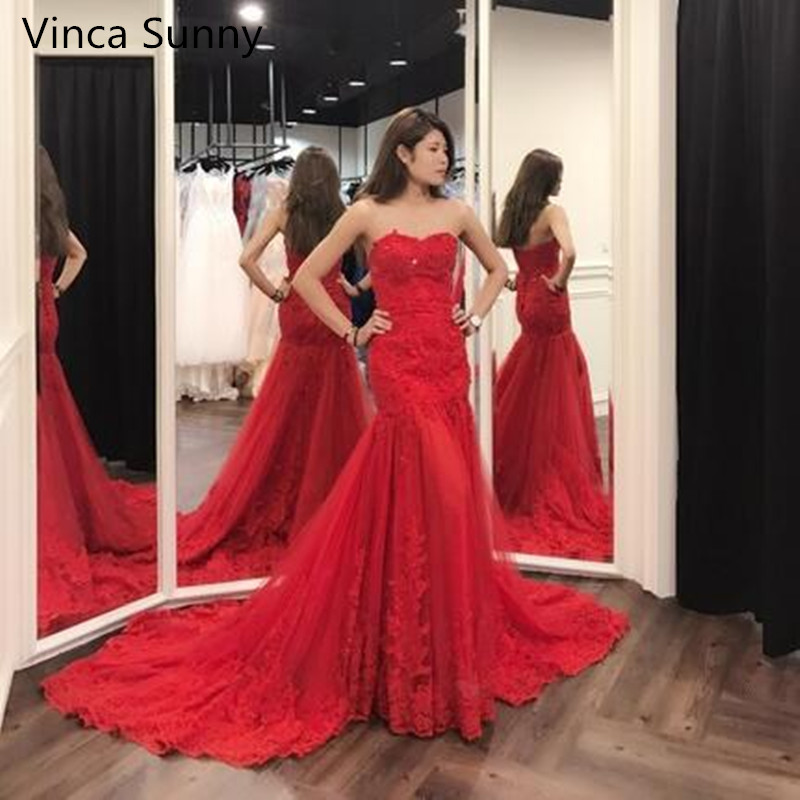 Vinca sunny Red Mermaid Lace Sexy   Evening   Gowns Long   Evening     Dress   For Women New Style Robe De Soiree 2019