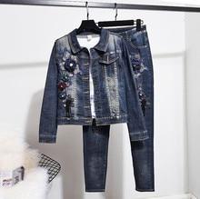 Chic women Denim jackets pantstuis Spring autumn embroidery jackets+Pencil Jeans two piece set D818