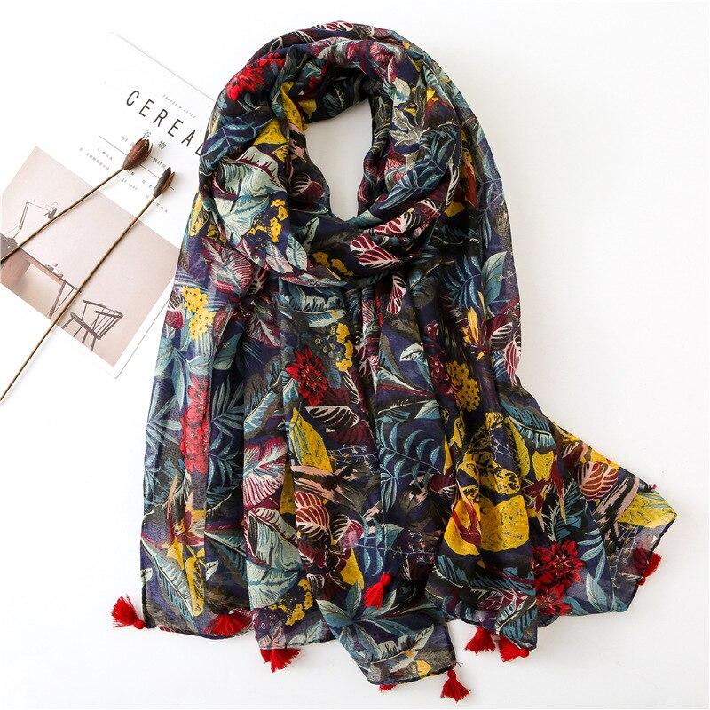 VISROVER Fashion Summer Scarf For Women Luxury Brand Top Shawls Foulard Beach Scarf Tassel Wraps Floral Printing Hijab Scarf