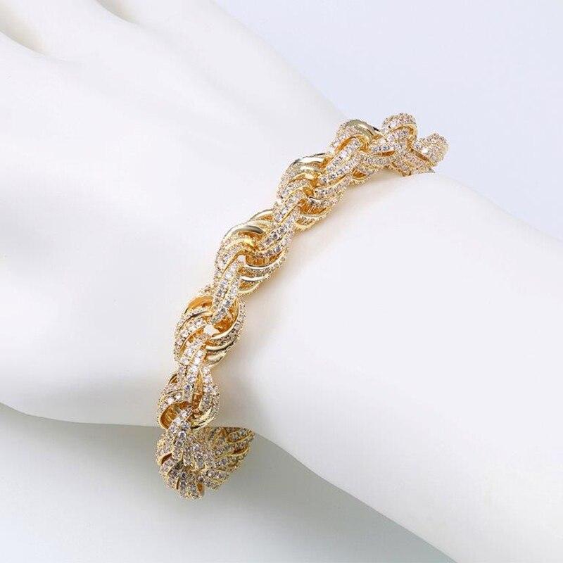 VANAXIN incrusté zircon cubique Hip Hop singapour torsadé hommes Bracelets or/argent couleur corde chaîne mode bijoux mâle cadeau - 3