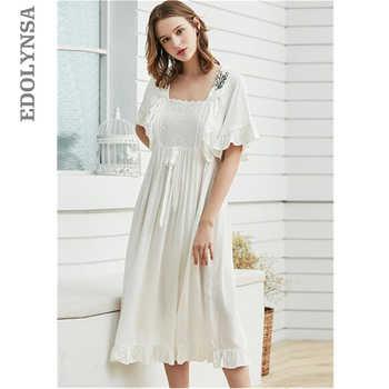 Victorian Style U Neck Ruffle Home Wear Night Dress Elegant High Waist Short Sleeve Nightgwon Plus Size Women Sleepwear T371 - DISCOUNT ITEM  43 OFF Underwear & Sleepwears