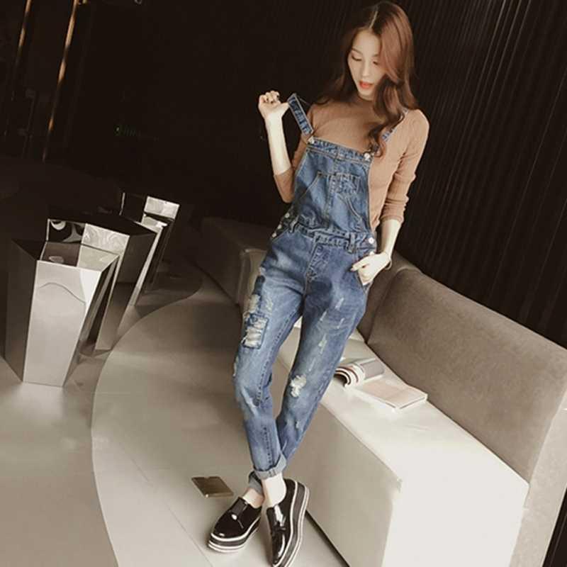 2019 Для женщин женский комбинезон джинсовые свободные, с дырами Регулируемый брючный костюм с бретельками женский комбинезон