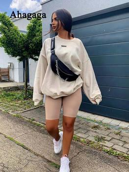 2019 Autumn Sweatshirt Women Fashion Casual Long Sleeve Pullover Letter Print Top Loose Long Women Sweatshirt Female Blusas Tops ornate print long sleeve casual sweatshirt