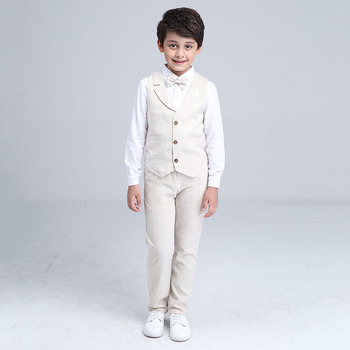 2017 Boys Blazer Suit Kids Cotton Vest+Tie+Blouse+Pants 4 pieces/set Clothes Sets Boys Formal Blazers for Weddings Party EB156 2