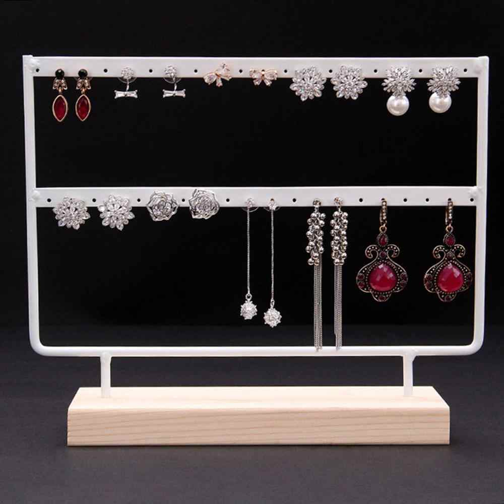 Wood Base Metal Jewelry Holder Display Stand Dangle Earrings Hanging 44 Holes Simple Style Metal Stand Holder Display Shelf 5pz