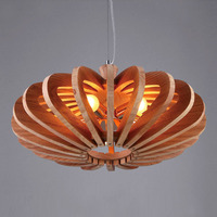 Wooden Pumpkin pendant lights Retro Living Room Restaurant Cafe Garment Shop Loft Single Head pendant lamps ZA MZ110