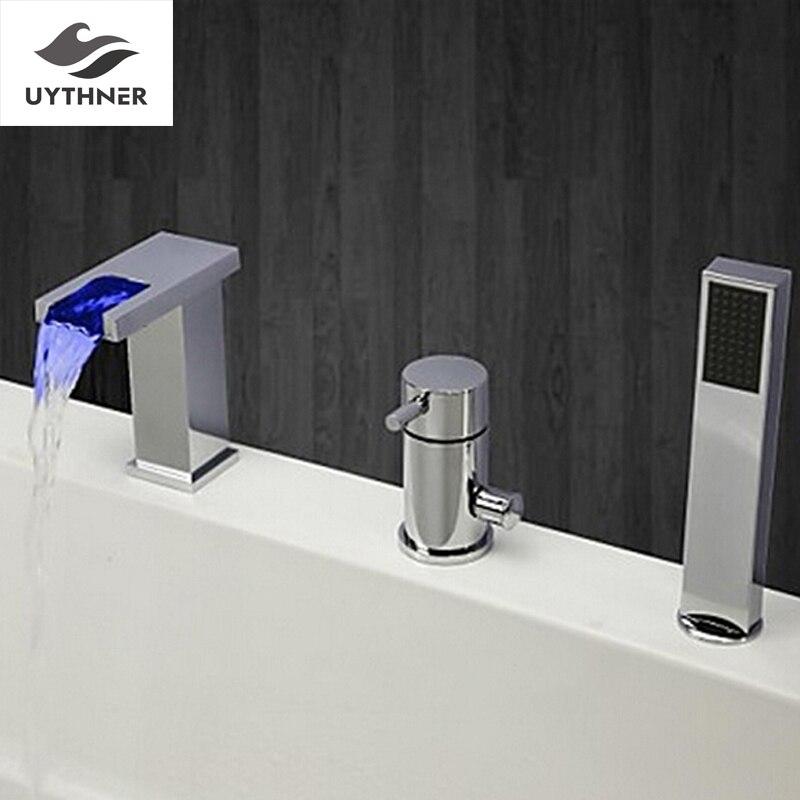 НОВЫЙ США Бесплатная доставка Современная мода свет меняется Ванная комната Водопад tubfaucet комплект W/ABS ручной душ смесителя двухслойные кр...