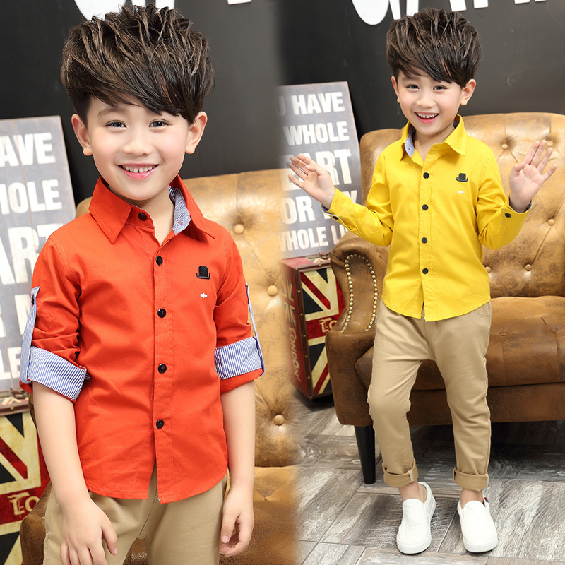 697411bd High Quality Solid Colors Orange Yellow Green Fashion Boys kids check Short sleeve  shirts Vetement enfant