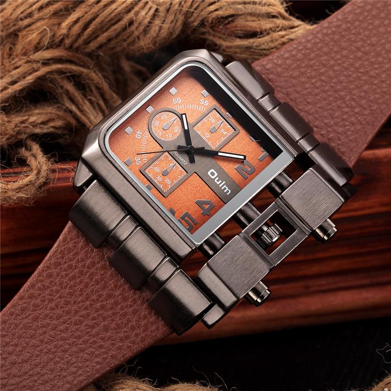 Prix pour Oulm Grande Taille Hommes de Montres À Quartz Grand Carré Homme Horloge Casual En Cuir Montre-Bracelet De Luxe Marque Militaire Montre reloj hombre