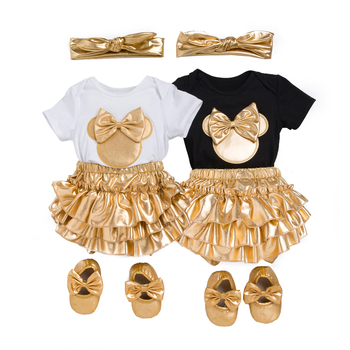 2018 Baby Girl Clothes 4pcs Clothing Sets Black Cotton Rompers Golden Ruffle Bloomers Shorts Shoes Headband  Newborn Clothes 5