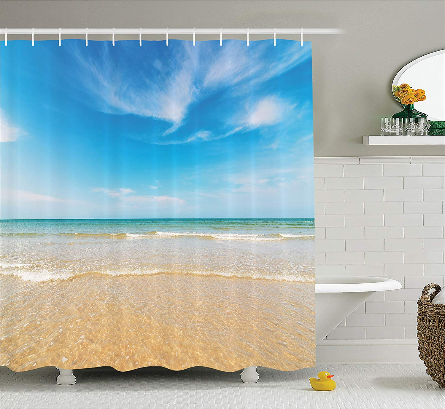 Us 14 17 38 Off Ocean Decor Shower Curtain Sea And Sky Landscape At The Beach In Tropical Exotic Fantastic Hawaiian Caribbean Lands Bathroom In