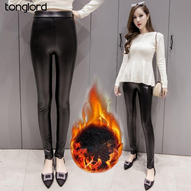 Women Plus Size S-4XL Winter Leather Pants Warm Velvet Pant High Waist Trousers Black Thick Stretch Pantalon Femme Lace Leggings
