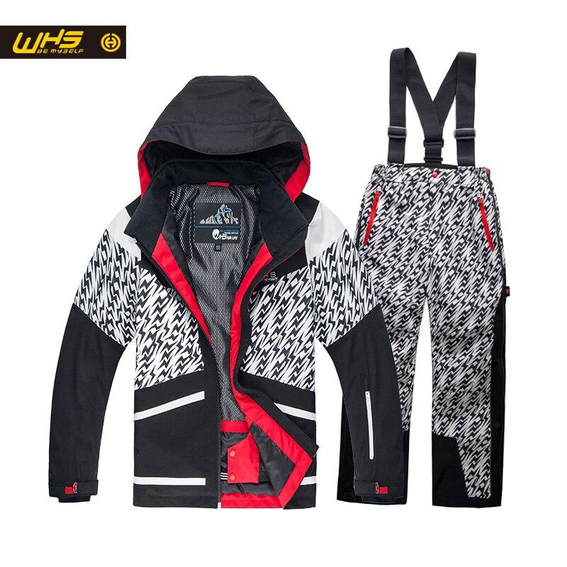 WHS Nouvelle Garçons ski costume adolescent veste coupe-vent manteaux et pantalon enfants ski costume imperméable vêtements 4-16 année Prendre en deuxième