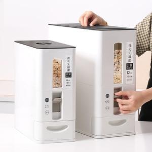 Image 1 - 測定可能な密封された米収納ボックス穀物豆小麦粉食品プラスチック容器瓶防湿バケットキッチンアイテム