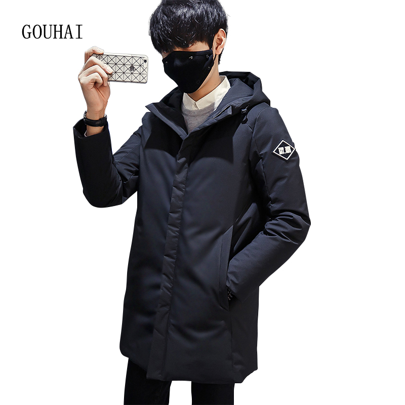 White Duck Down Jacket Men Hooded Winter Jacket Men Plus Size Warm Solid Long Coat Man Feather Jacket Men Parka Homme