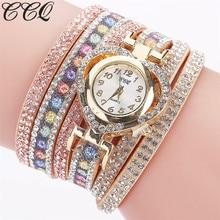 CCQ Brand Fashion Luxury Leather Bracelet Watch Women Full Crsytal Wrist Watch Casual Multilayer Watch Relogio Feminino C125